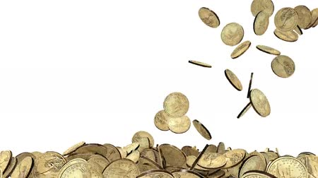 many dollar coins on white background, 3d animation Wideo