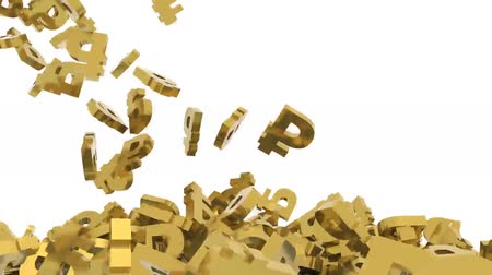 many ruble signs on white background, 3d animation Wideo