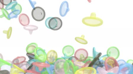 many colored fall condoms on white background, 3d animation Wideo