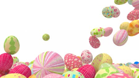 many colored easter eggs on white background, 3d animation Wideo