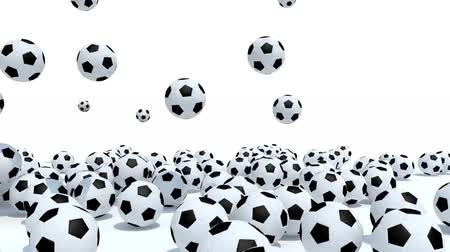 many soccer balls on white background, 3d animation Wideo
