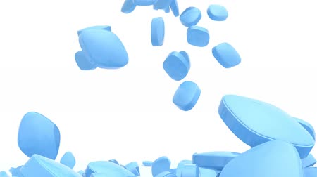 many blue pills fall on white background, 3d animation
