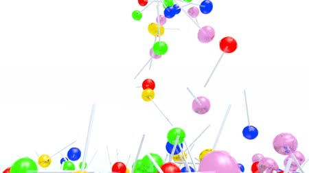many colored lollipops fall on white background, 3d animation