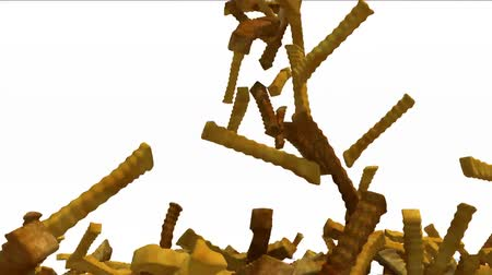 many fried chips fall on white background, 3d animation