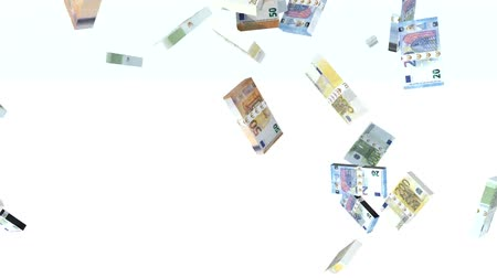 lots of money : many euro banknotes launched into the air, 3d animation