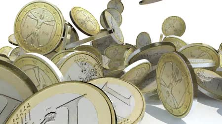 many euro coins fall on white background, 3d animation Wideo