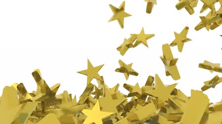 many golden stars fall on white background, 3d animation