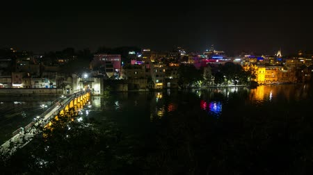 pichola : Udaipur Rajasthan India. Time lapse by night from above. Travel destination and tourism landmarks.