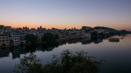 pichola : Udaipur Rajasthan India. Time lapse at sunrise from above. Travel destination and tourism landmarks.