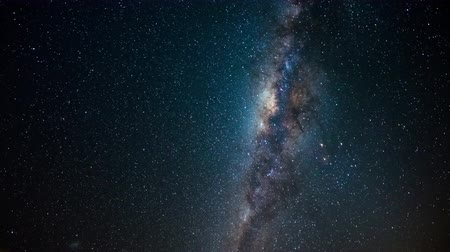 izzás : Milky Way time lapse and starry sky rotating, center close up, galaxy core details, bright nebula, night sky in Namibia.