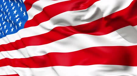 hymn : Realistic 3d seamless looping USA(United States) flag waving in the wind.