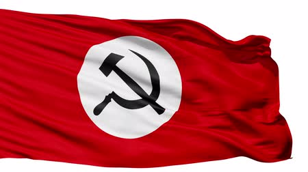 hymn : Realistic 3D detailed slow motion Union of Soviet Socialist Republics flag in the wind - seamless looping