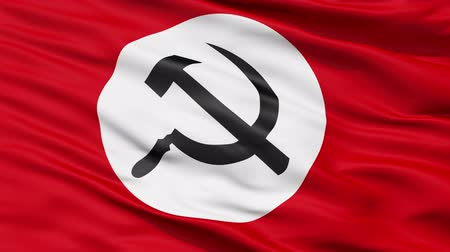 sovyet : Realistic 3D detailed slow motion Union of Soviet Socialist Republics flag in the wind - seamless looping