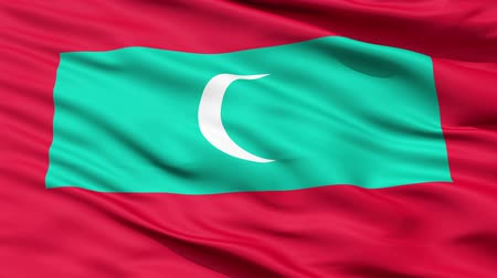 allegiance : Republic of Maldives waving flag with the crescent as the symbol of Islam,seamless looping Stock Footage