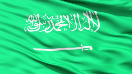 árabe : Waving Flag of Saudi Arabia with the Arabic writing and a sword,seamless looping Vídeos