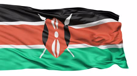 alegorie : Flying Flag Of Kenya with a Maasai shield and spears symbolising defense of the country.