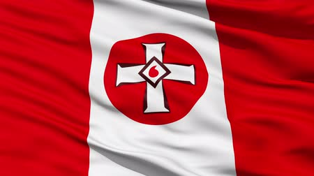 allegiance : Waving Ku Klux Klan Flag with the symbolic drop of blood inside a white cross.