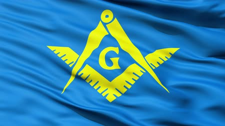 allegiance : The Masonic Flag Of Freemasonry with stylised Square and Compasses