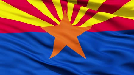 alegorie : Waving Flag Of The US State of Arizona with a copper star representing the copper industry. Dostupné videozáznamy