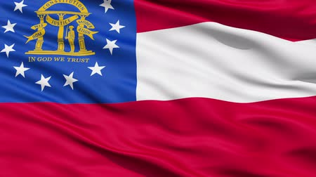 alegorie : Waving Flag Of The US State of Georgia with the state coat of arms and a circle of thirteen white stars.