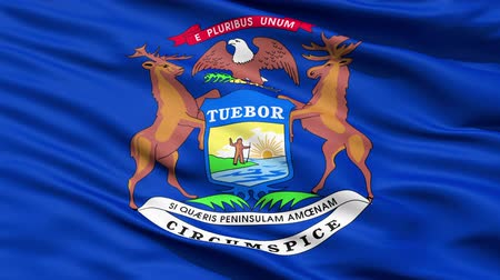 alegorie : Waving Flag Of The US State of Michigan with the coat of arms supported by an elk and moose.
