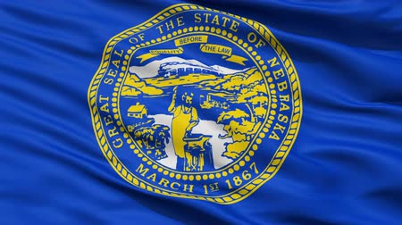 alegorie : Waving Flag Of The US State of Nebraska with the official state seal on blue.
