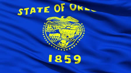 allegiance : Waving Flag Of The State Of Oregon, America, with the states official coat of arms and motto in the centre.