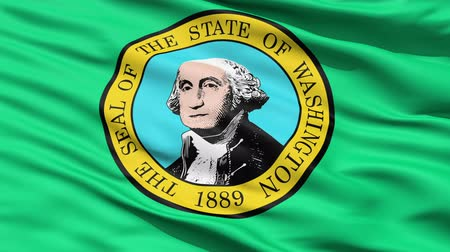 alegorie : Waving Flag Of StateWaving Flag Of State Of Washington, America, with the official seal depicting George Washington in the centre. Of Washington