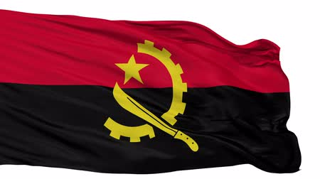 machete : Angola Flag Realistic Animation Isolated on White Seamless Loop - 10 Seconds Long Alpha Channel is Included