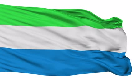 sierra leone flag : Sierra Leone Flag Realistic Animation Isolated on White Seamless Loop - 10 Seconds Long Alpha Channel is Included Stock Footage
