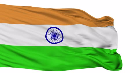 bandeira : India Flag Realistic Animation Isolated on White Seamless Loop - 10 Seconds Long Alpha Channel is Included