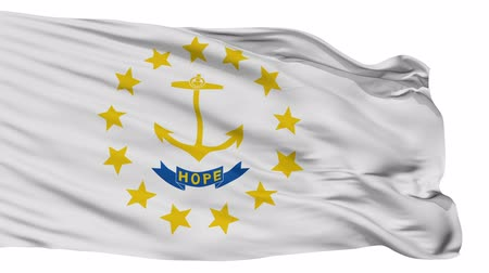 rhode : Rhode Island Flag Isolated Realistic Animation Seamless Loop - 10 Seconds Long Stock Footage