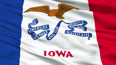 iowa : Iowa Flag Close Up Realistic Animation Seamless Loop - 10 Seconds Long Stock Footage