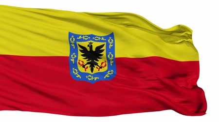 bogota : Bogota Capital City Flag of Colombia, Isolated Realistic 3D Animation, Seamless Loop - 10 Seconds Long