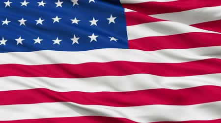 vlastenectví : 28 Stars United States of America Flag, Close Up Realistic 3D Animation, Seamless Loop - 10 Seconds Long