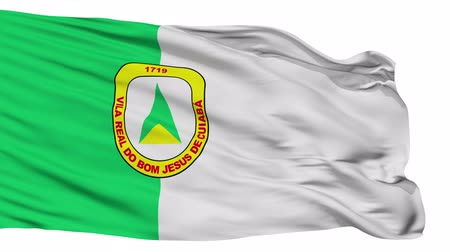 américa do sul : Cuiaba flag, city of Brasil, realistic animation isolated on white seamless loop - 10 seconds long (alpha channel is included)