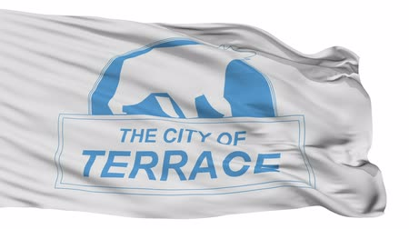 pano : Terrace flag, city of Canada, realistic animation isolated on white seamless loop - 10 seconds long (alpha channel is included)