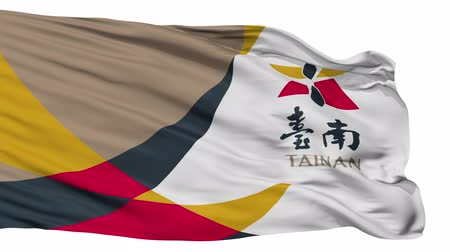 tainan : Tainan flag, city of Taiwan, realistic animation isolated on white seamless loop - 10 seconds long (alpha channel is included)