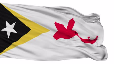 east timor : Baucau flag, city of East Timor, realistic animation isolated on white seamless loop - 10 seconds long (alpha channel is included)