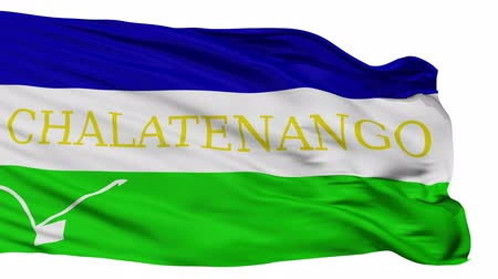 independência : Chalatenango flag, city of El Salvador, realistic animation isolated on white seamless loop - 10 seconds long (alpha channel is included)