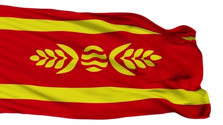 macedonia : Kocani  flag, city of Macedonia, realistic animation isolated on white seamless loop - 10 seconds long (alpha channel is included)