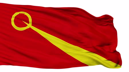 cyrillic : Valandovo  flag, city of Macedonia, realistic animation isolated on white seamless loop - 10 seconds long (alpha channel is included)