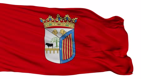 знак : Salamanca flag, city of Spain, realistic animation isolated on white seamless loop - 10 seconds long (alpha channel is included)