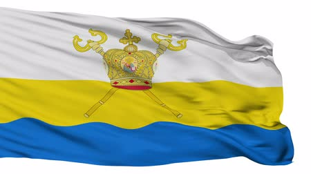 cyrillic : Mykolaiv Oblast flag, Ukraine, realistic animation isolated on white seamless loop - 10 seconds long (alpha channel is included)