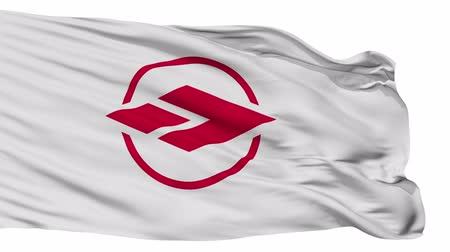 kivágott : Ageo flag, Saitama prefecture, realistic animation isolated on white seamless loop - 10 seconds long (alpha channel is included)