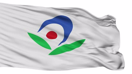 címer : Akiruno flag, Tokyo prefecture, realistic animation isolated on white seamless loop - 10 seconds long (alpha channel is included) Stock mozgókép