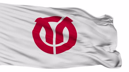 címer : Isehara flag, Kanagawa prefecture, realistic animation isolated on white seamless loop - 10 seconds long (alpha channel is included)