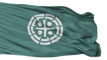 insignie : Kurume flag, Fukuoka prefecture, realistic animation isolated on white seamless loop - 10 seconds long (alpha channel is included)