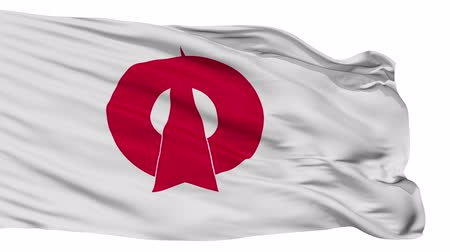 címer : Oda flag, Shimane prefecture, realistic animation isolated on white seamless loop - 10 seconds long (alpha channel is included) Stock mozgókép