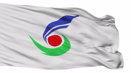 acetinado : Setouchi flag, Okayama prefecture, realistic animation isolated on white seamless loop - 10 seconds long (alpha channel is included)